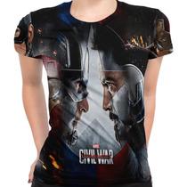 Camiseta Baby Look Filme Civil War Marvel Capitão América