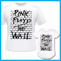 Kit Tal Pai Tal Filho Camiseta E Body Infantil Pink Floyd