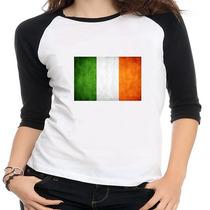 Camiseta Raglan Bandeira Irlanda - Feminina