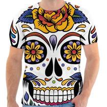 Camiseta Caveira Mexicana Estampada, Masculina E Feminina