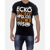 Camiseta Masculina Ecko Unltd Preta Laranja Estilo Hollister