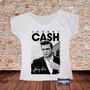 Blusa Feminina Gola Canoa Camisa Johnny Cash Homem De Preto
