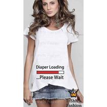T-shirt Feminina Gestante Mãe Baby Carregando Personalizada
