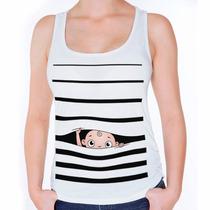 Camiseta Regata Feminina Grávida Gestante Bebê Espiando