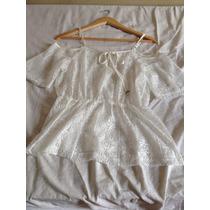 Blusa De Renda Estilo Rede Branca Off White Marca Costume