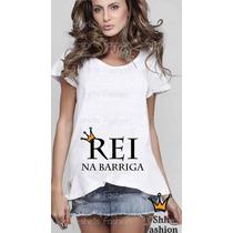T-shirt Feminina Gestante Mãe Rei Na Barriga Personalizada