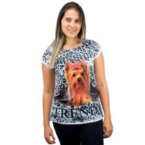 Blusa Feminina Estampa De Cachorro York Com Brilho Cód: 18-3