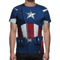 Camisa, Camiseta Uniforme Capitão América Mod 02