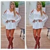Blusa Bata Mini Vestido Chiffon Renda Importada No Brasil