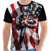 Camisa, Camiseta Capitão America - Flag, Super Herói