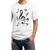 Camiseta Estampa Clave De Sol-notas Musicais