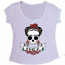 Blusa Flame Camiseta Frida Kahlo Caveira - Envio Imediato