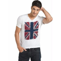 Camiseta Masculina Branca Bandeira - Roupa P M G Gg