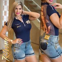 Blusa Polo Feminina Da Rhero Jeans / Baby Look Azul E Pink