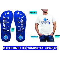 Kit Cruzeiro Esporte Clube Campeão 2013 Camiseta + Chinelo