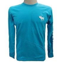 Camiseta Manga Longa Abercrombie Azul Claro Original