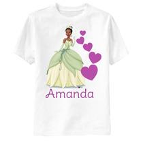 Camiseta A Princesa E O Sapo Personalizada - Tiana Corações