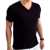 Camiseta Masc - Gola V - Malha Penteado - Fio 30.1