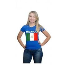 Camiseta Bandeira Do Mexico Baby Look Feminina Algodão
