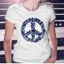 Camiseta Gola Careca Menina Peace Símbolo Da Paz Floral