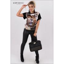 Blusa Feminina Com Estampa De Leão - Kam Bess - 021765