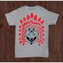 Camiseta Lobo Com Cocar Vermelhor Pintada Á Mão Marca Rauser
