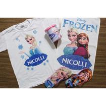 Kit Personalizado Frozen Camiseta Toalha Chinelo Caneca