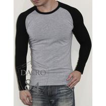 Blusa E Camiseta Masculina Manga Colorida Longa Ou Curta