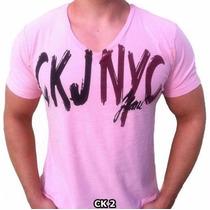 Camiseta Calvin Klein Gola V - Frete Grátis
