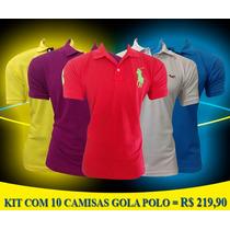 Kit 10 Camisetas Gola Polo Ralph Lauren E Hollister Marcas!