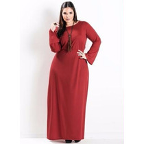 Vestido Plus Size Longo Com Manda Comprida Vermelho Gordinha