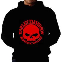 Blusa Moletom Harley Davidson Capuz E Bolso Caveira Camiseta