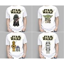 Camiseta Geek Infantil Adulto Star Wars Darth Vader Luke R2