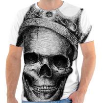 Camiseta Caveira Com Coroa Estampada, Masculina E Feminina
