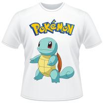 Camiseta Infantil Pokemon Squirtle Anime Desenho Camisa