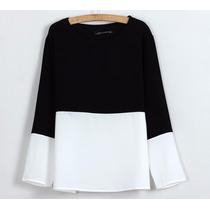 Blusa Branca E Preta - Estilo Zara