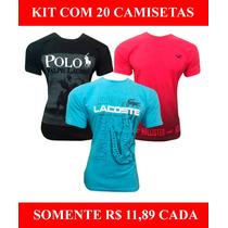 Kit 20 Camisetas Masculinas Baratas Marcas Famosas