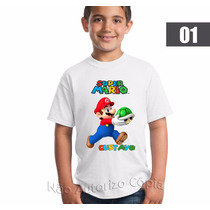 Camisa Personalizada Super Mario Bros - Adulto E Infantil