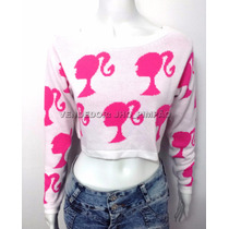 Blusa Tricot Feminina Top, Cropped Barbie Outono Inverno