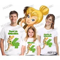 Camiseta Sininho Fadas Aniversário Personalizada Kit Com 3