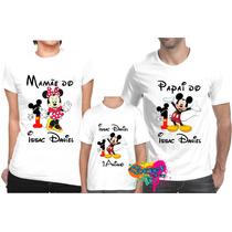 Kit 3 Pçs Camiseta - Camisa P/ Festa Personalizada Mickey A3