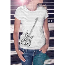 Frete Barato Camiseta Feminina Guitarra Notas Musicais