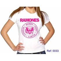 T-shirts Feminina Ramones Rock Pink Camisetas Personalizadas