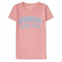 Camiseta Feminina Aeropostale Aero Original Rosa Bordada