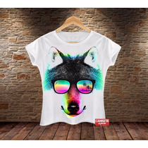 Camiseta Feminina Camisa Blusa Lobo Wolf Verão Animal Print