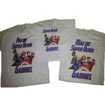 Camiseta - Camisa Personalizada Vingadores Marvel A3/ 3pçs