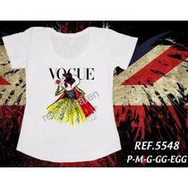 T Shirt Branca De Neve Princesas Baby Look Camiseta Feminina