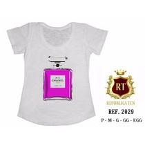 T-shirt Camiseta Perfume Numero 5 Personalizada Feminina