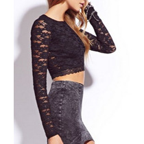 Top Cropped Blusa Top Crop Renda Juju Panicat