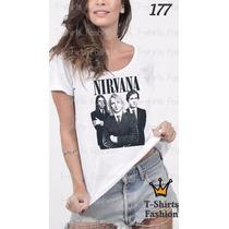 Camiseta T-shirt Nirvana Fashion Feminino Blusa Baby Look